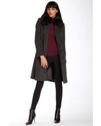 1 Madison Genuine Dyed Fox Fur Collar Wool Blend Coat