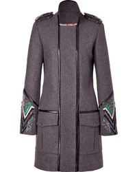 Matthew Williamson Grey Multi Embroidered Leather Piped Military Coat