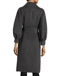 Oscar de la Renta Lantern Sleeve Belted Coat Charcoal