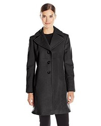 Larry Levine Single Breasted Notch Collar Wool Coat