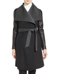 Leather sleeve wool blend wrap coat medium 703297