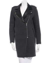 Sandro Leather Trimmed Wool Coat