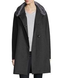 Mink trim felt coat charcoal medium 783590
