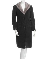 Dolce & Gabbana Mink Trimmed Wool Coat