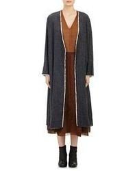 Pas De Calais Plisse Long Coat Black Size Xs
