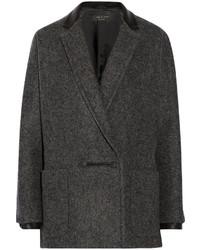 Rag and Bone Rag Bone Primrose Leather Trimmed Wool Blend Coat