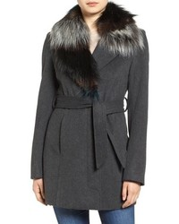 Sam Edelman Wool Coat With Removable Faux Fur Collar