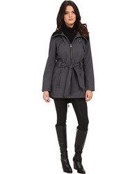 Steve Madden Softshell Rib Collar Self Belt Coat