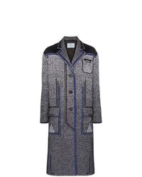 Prada Speckled Jacquard Stripe Accent Coat