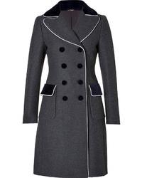 Moschino Wool Coat In Greywhite