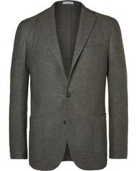 Grey slim fit wool cotton and cashmere blend blazer medium 3689709