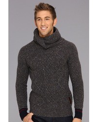 Men's Charcoal Cowl-neck Sweater, Beige Jeans, Dark Brown Suede ...