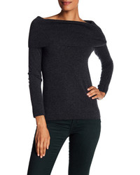 Cashmere off the shoulder cowl neck sweater medium 6844702