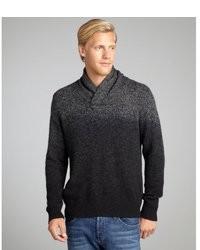 Wyatt Charcoal Cashmere Marled Dip Dye Shawl Collar Sweater