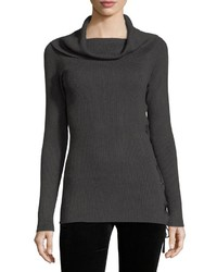Neiman Marcus Cowl Neck Lace Up Sweater