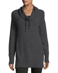 Neiman Marcus Drawstring Cowl Neck Raglan Sweater
