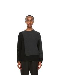 Isabel Benenato Black And Grey Wool Sweater
