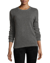 Neiman Marcus Cashmere Basic Pullover Sweater Gray