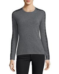 Neiman Marcus Cashmere Collection Lace Trimmed Crewneck Cashmere Sweater