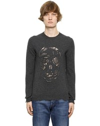 Alexander McQueen Cutout Skull Sweater W Metal Rings