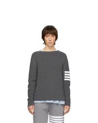 Thom Browne Grey 4 Bar Stitch Sweater