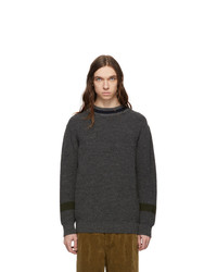 Comme des Garcons Homme Grey And Navy Wool Crewneck Sweater