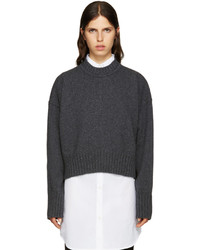 Jil Sander Grey Wool Cropped Sweater
