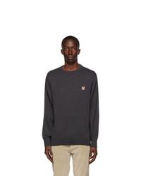 MAISON KITSUNÉ Grey Wool Fox Head Sweater