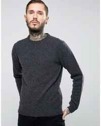 42a90bc03a ... Asos Lambswool Rich Crew Neck Sweater In Charcoal