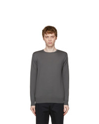 Loro Piana Taupe Silk Elmwood Crewneck Sweater
