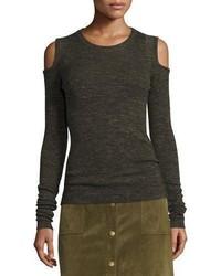 Current/Elliott The Melange Cold Shoulder Sweater Moss Green