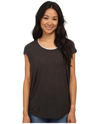 Bobeau Cap Sleeve T Shirt W Trim