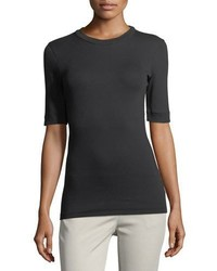 Brunello Cucinelli Elbow Sleeve Ribbed Crewneck Tee