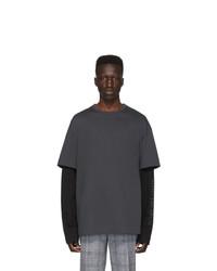 Juun.J Grey And Black Layered Long Sleeve T Shirt
