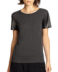Vince Leather  Sleeved Cotton Jersey Tee