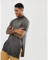 d8e68de88ae8 ... ASOS DESIGN Relaxed Super Longline T Shirt With Turtle Neck And Side  Splits In Textured Fabric