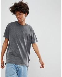 YOURTURN T Shirt In Dark Grey With Shadow Pocket