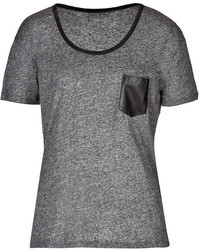 The Kooples T Shirt With Leather Trim