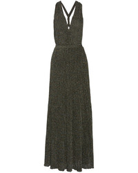 Missoni Metallic Crochet Knit Maxi Dress Gray