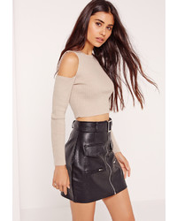 Missguided cold shoulder crop top nude medium 825293