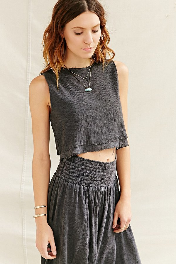6f5337839bd64 ... Urban Outfitters Urban Renewal Layered Gauze Cropped Top ...