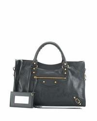 Balenciaga Classic Gold City Shoulder Bag Gray
