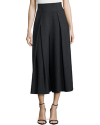 Milly High Waisted Pleated Double Face Culottes Gray