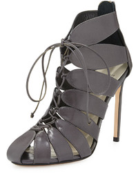 Lace up cutout ankle boot gray medium 289536