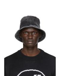 We11done Black Denim Logo Bucket Hat