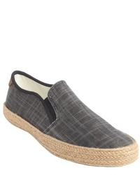 Original Penguin Black And Grey Canvas Espadrilles Slip On Loafers
