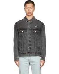 We11done Black Faded Denim Oversized Jacket