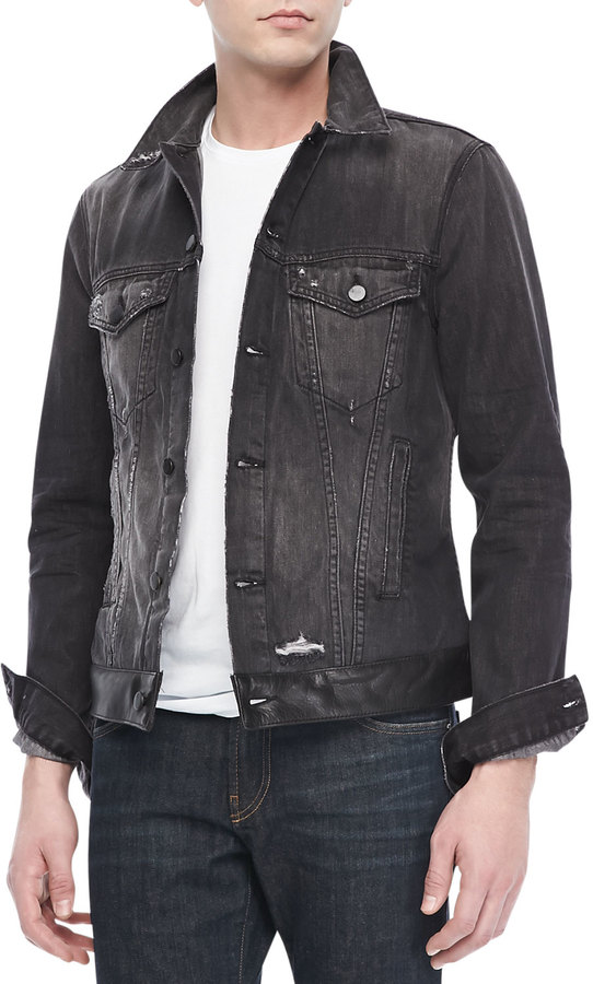 J Brand Jeans Owen Jean Jacket Destroyed Black | Where to buy ...