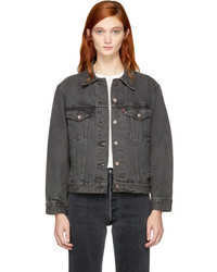 Levi's Levis Grey Denim Ex Boyfriend Trucker Jacket