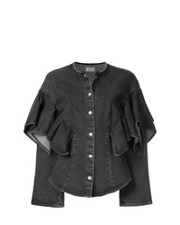 Sara Battaglia Ruffle Sleeve Denim Jacket